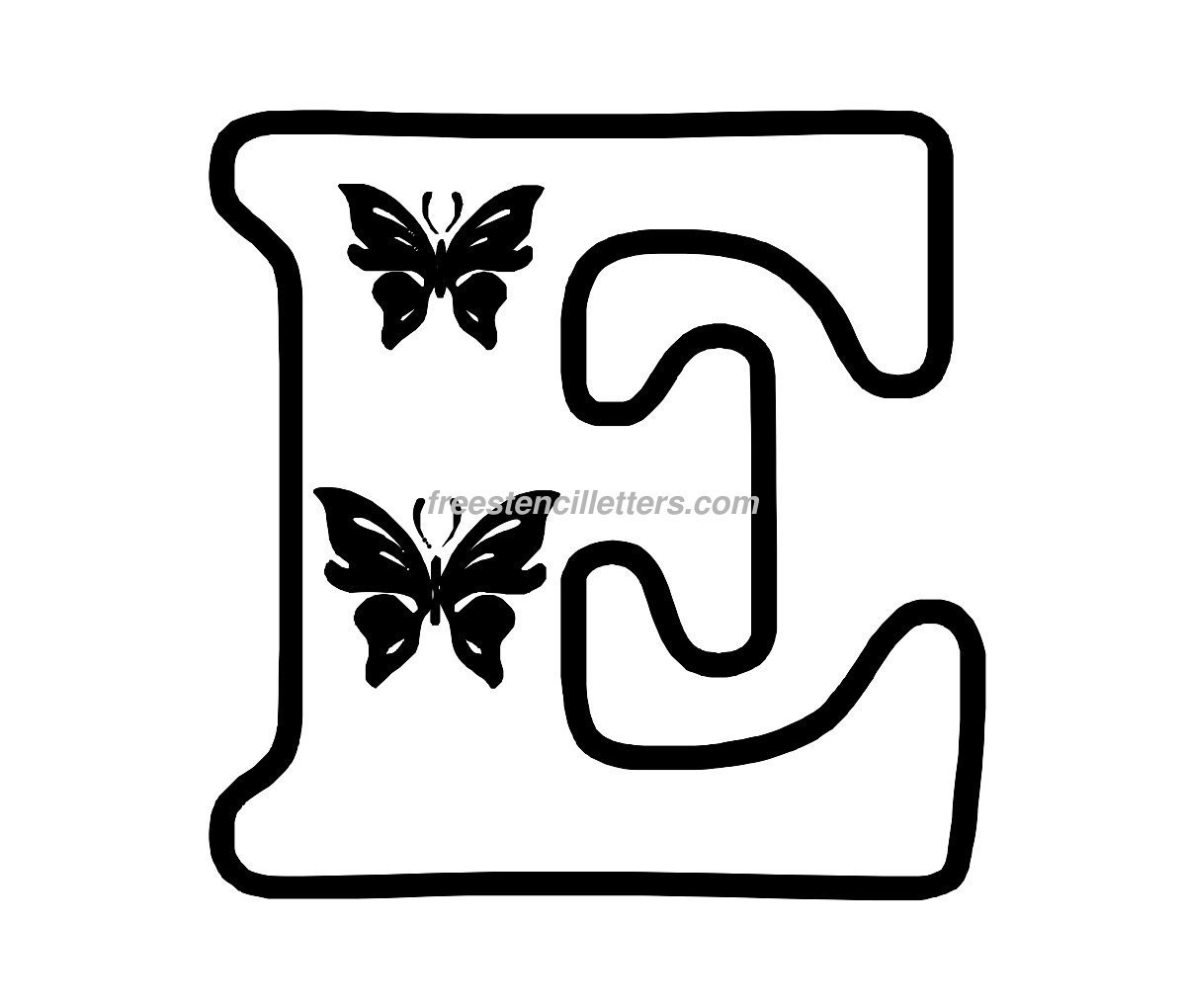 Alphabet E letters to print and cut out free - Print E Letter Stencil