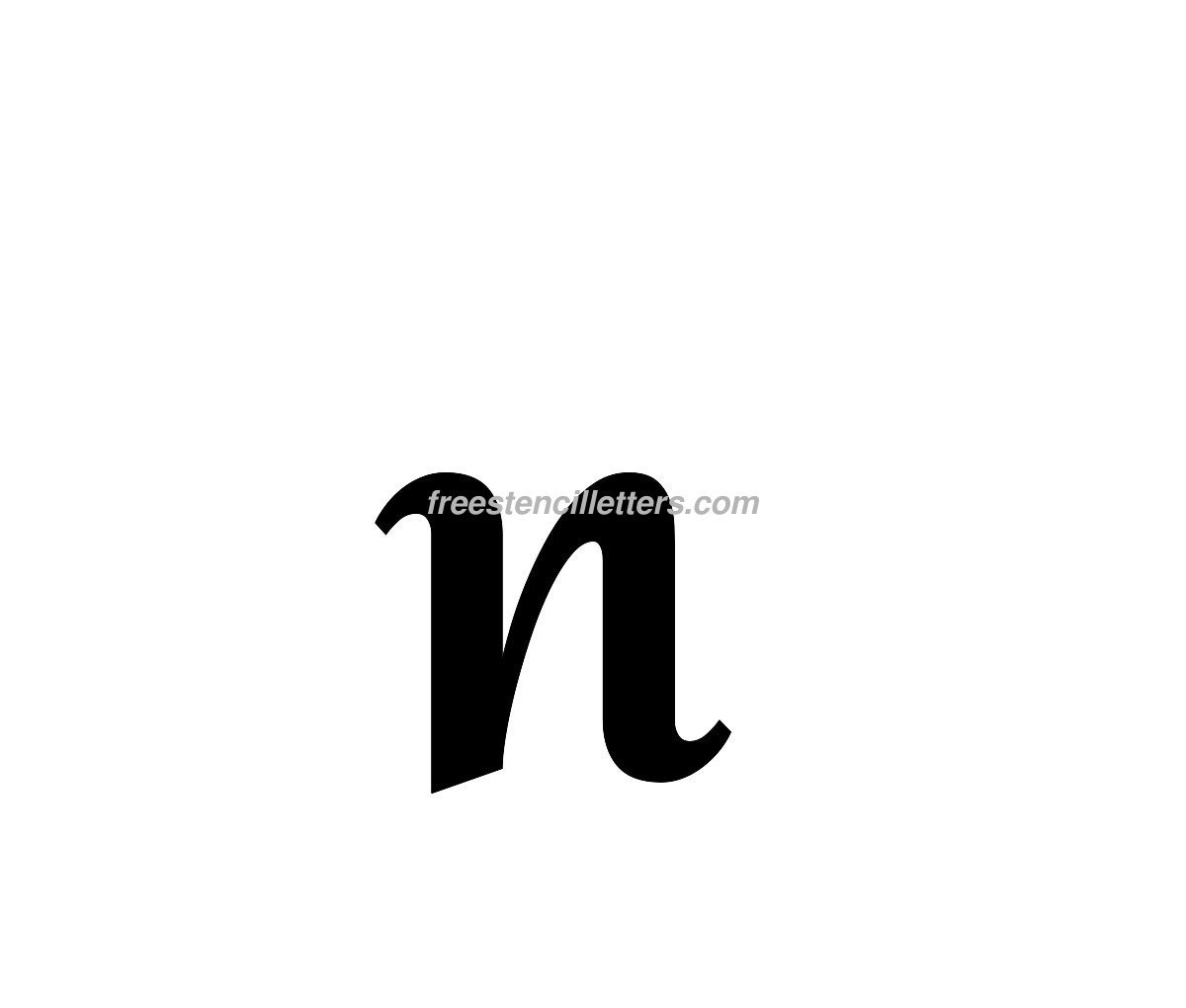 print lowercase n letter stencil