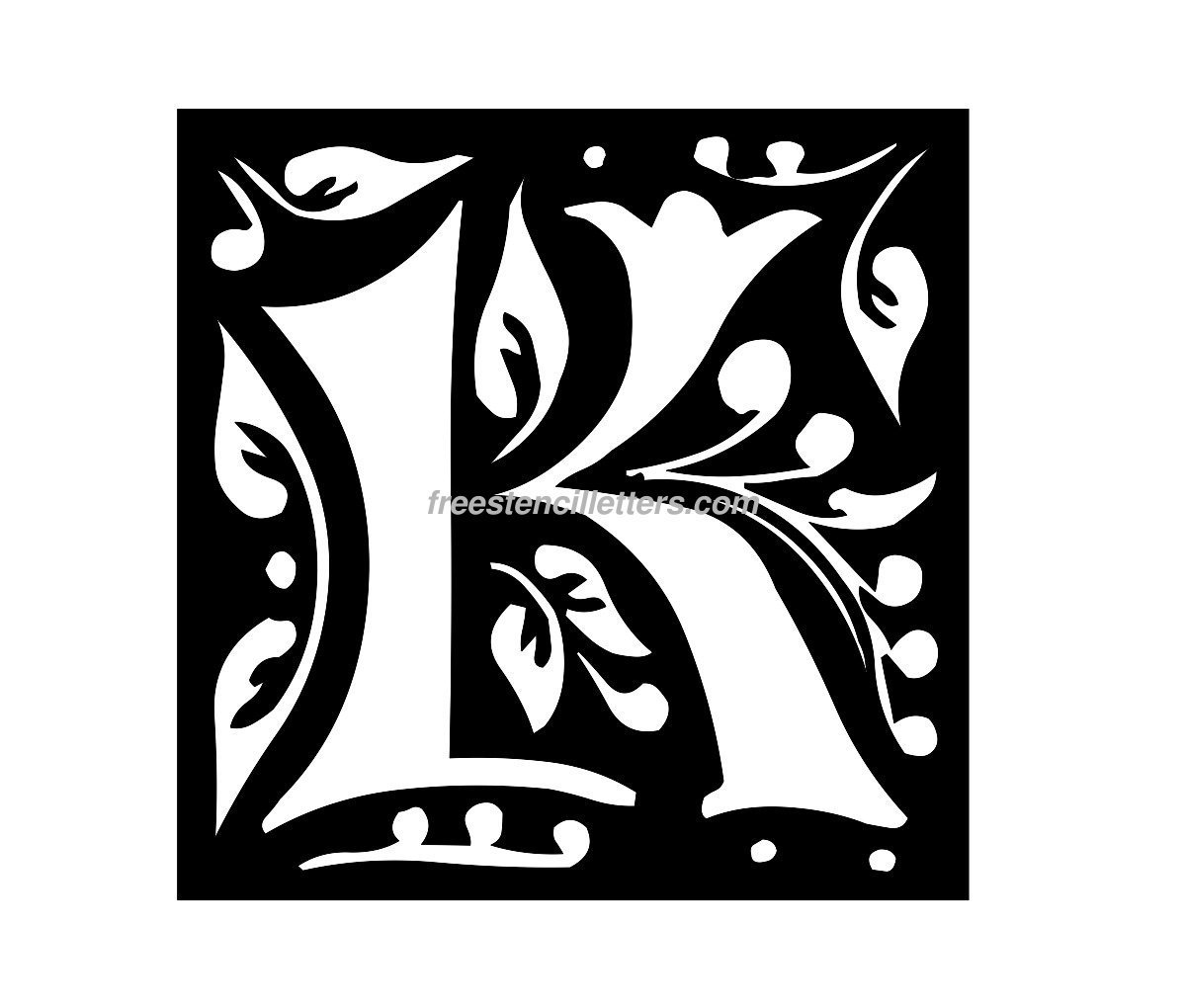 Download Print K Letter Stencil to print and cut out