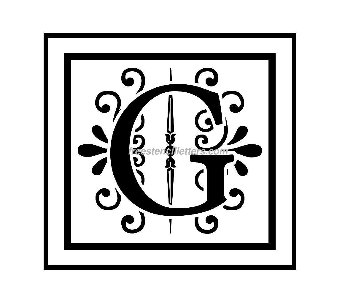photograph about Printable Monogram Stencil called Print G Letter Stencil - Cost-free Stencil Letters