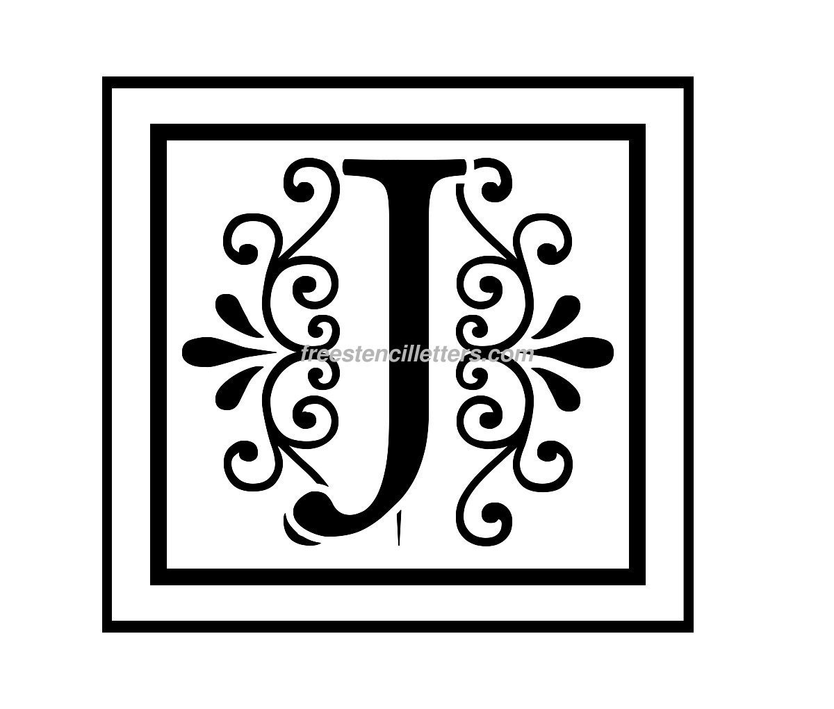 image regarding Printable Monogram Stencil called Print J Letter Stencil - Totally free Stencil Letters