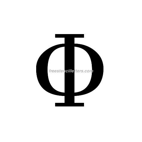 graphic about 4 Inch Greek Letter Stencils Printable called Print Greek Letter Phi Letter Stencil - Cost-free Stencil Letters