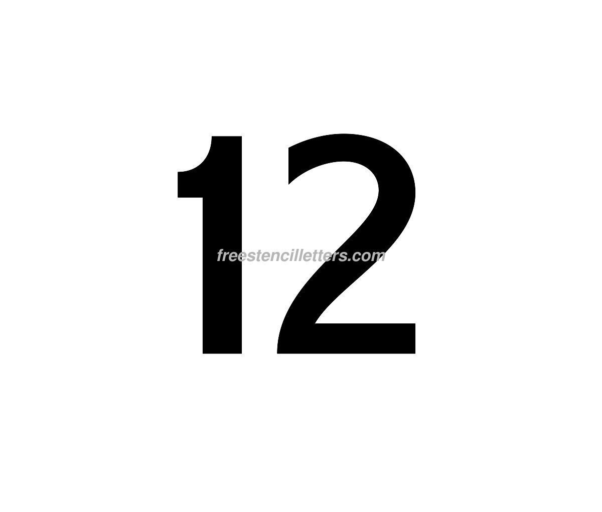 Download print number 12 letter stencil to print and cut out