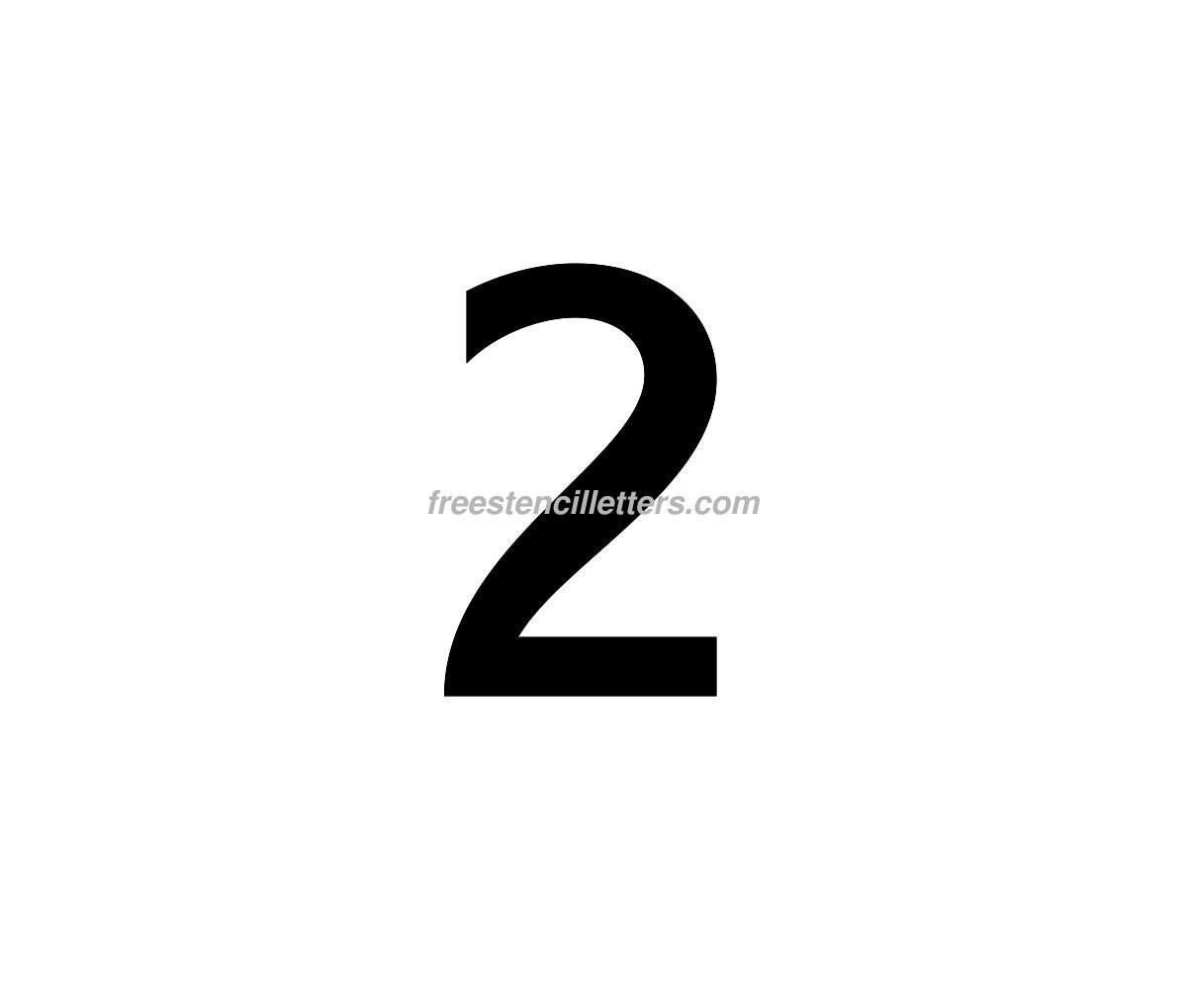number-2  Inch Letter Stencils Template on
