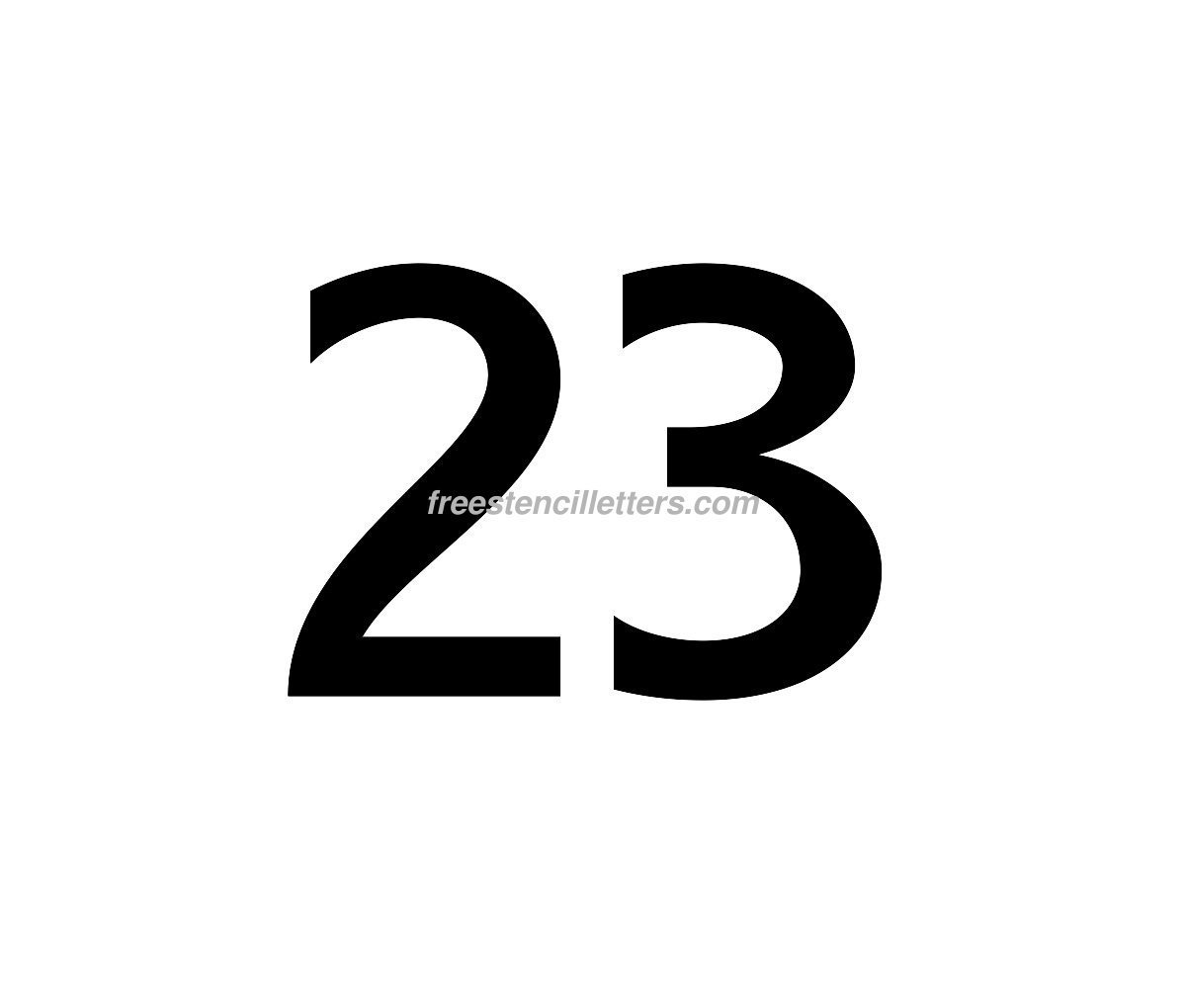 Download Print Number 23 Letter Stencil to print and cut out