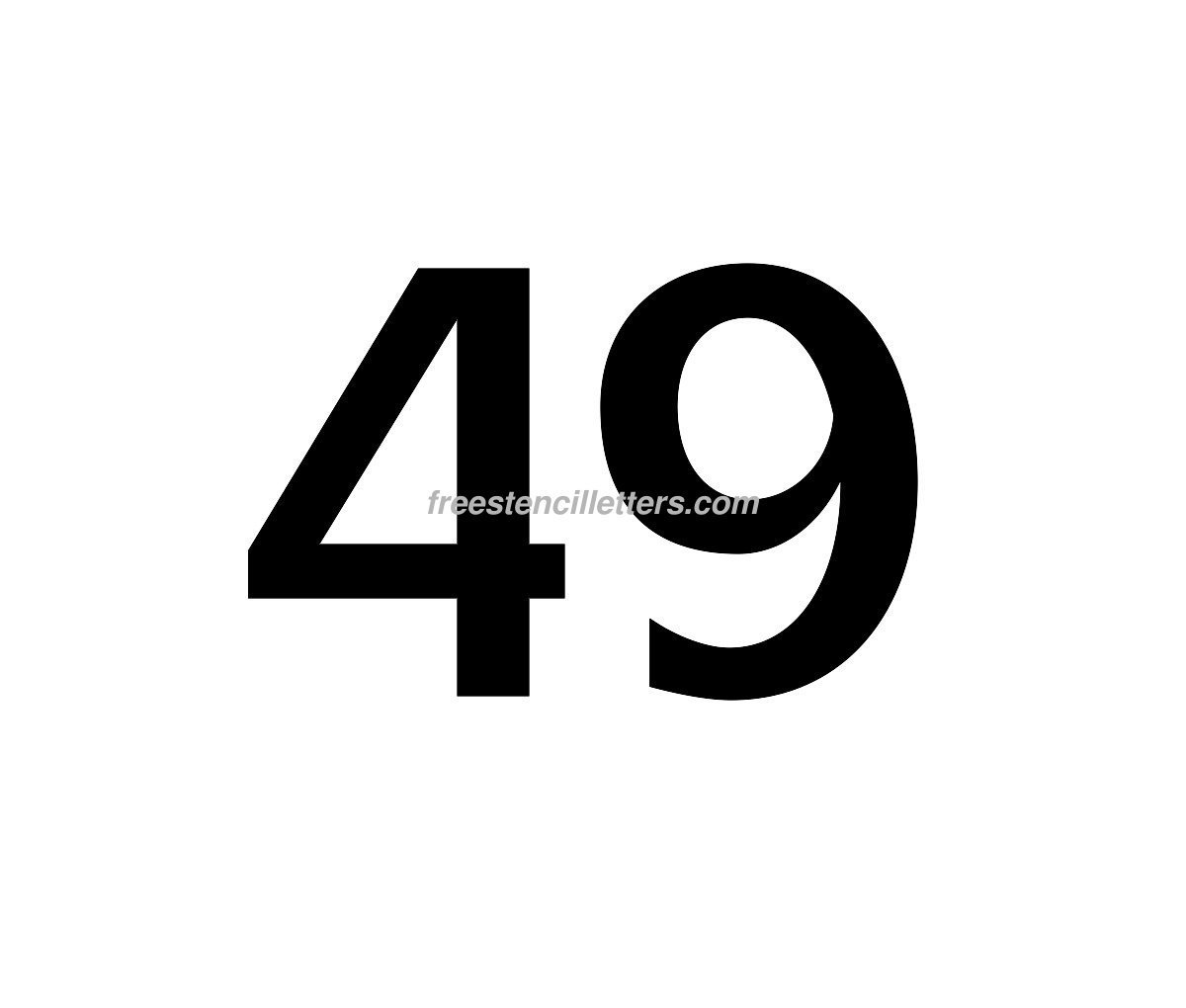 number-49  Inch Letter Stencil Template on hebrew letters printable, letter size, aerosol paint, separate letter, block letter, color printing, woodblock printing, free printable alphabet, stencil graffiti, number template, individual number, screen printing, letters printable,