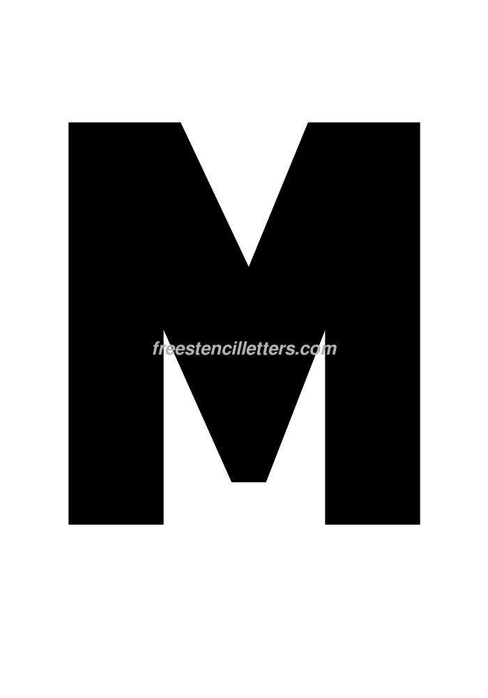 Download print 12 inch m letter stencil to print and cut out