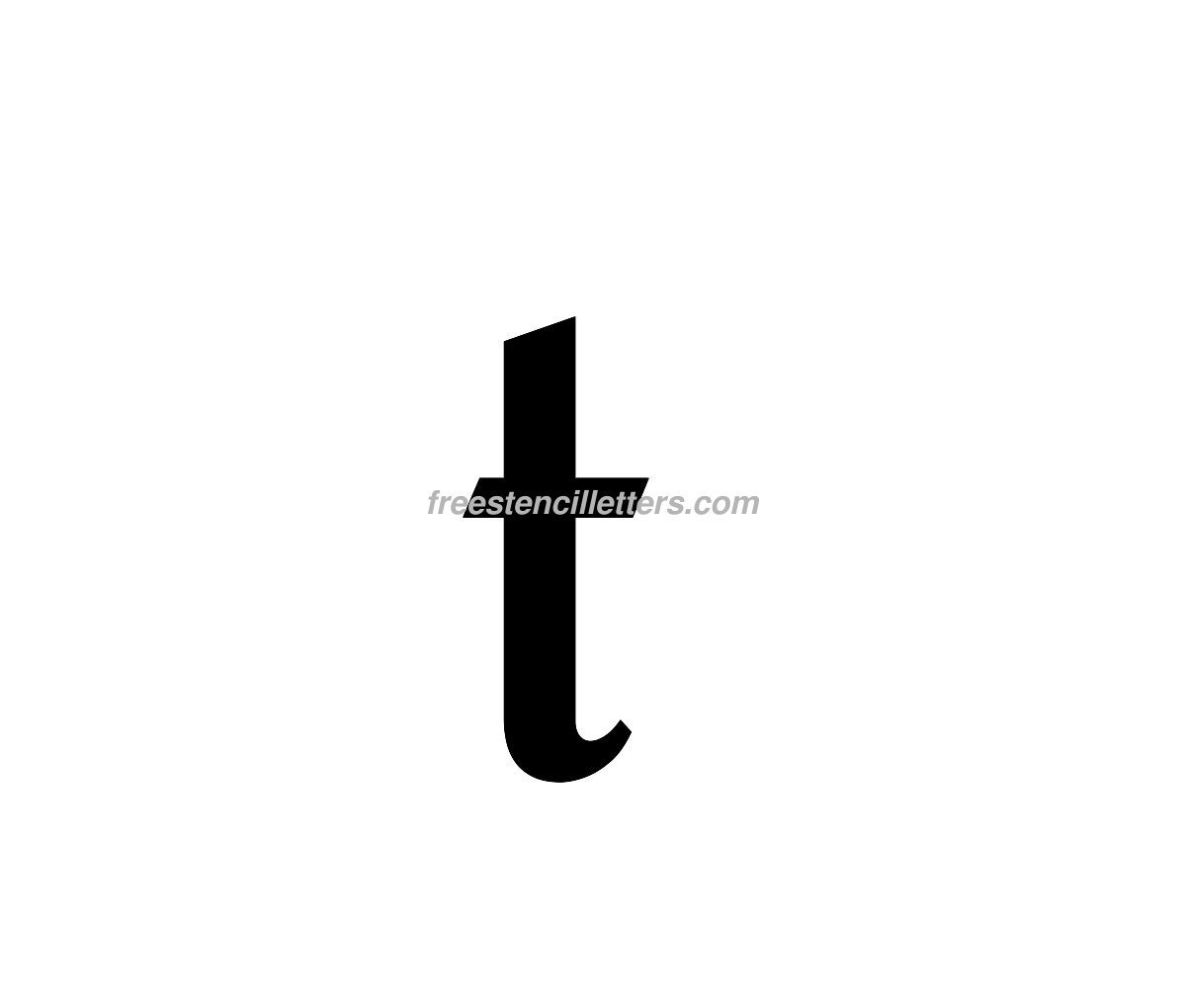 Print Lowercase T Letter Stencil