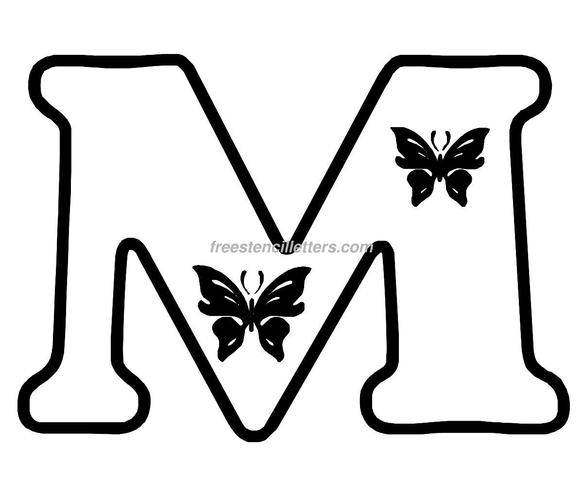 Butterfly stencil letters archives free stencil letters print m letter stencil spiritdancerdesigns Gallery